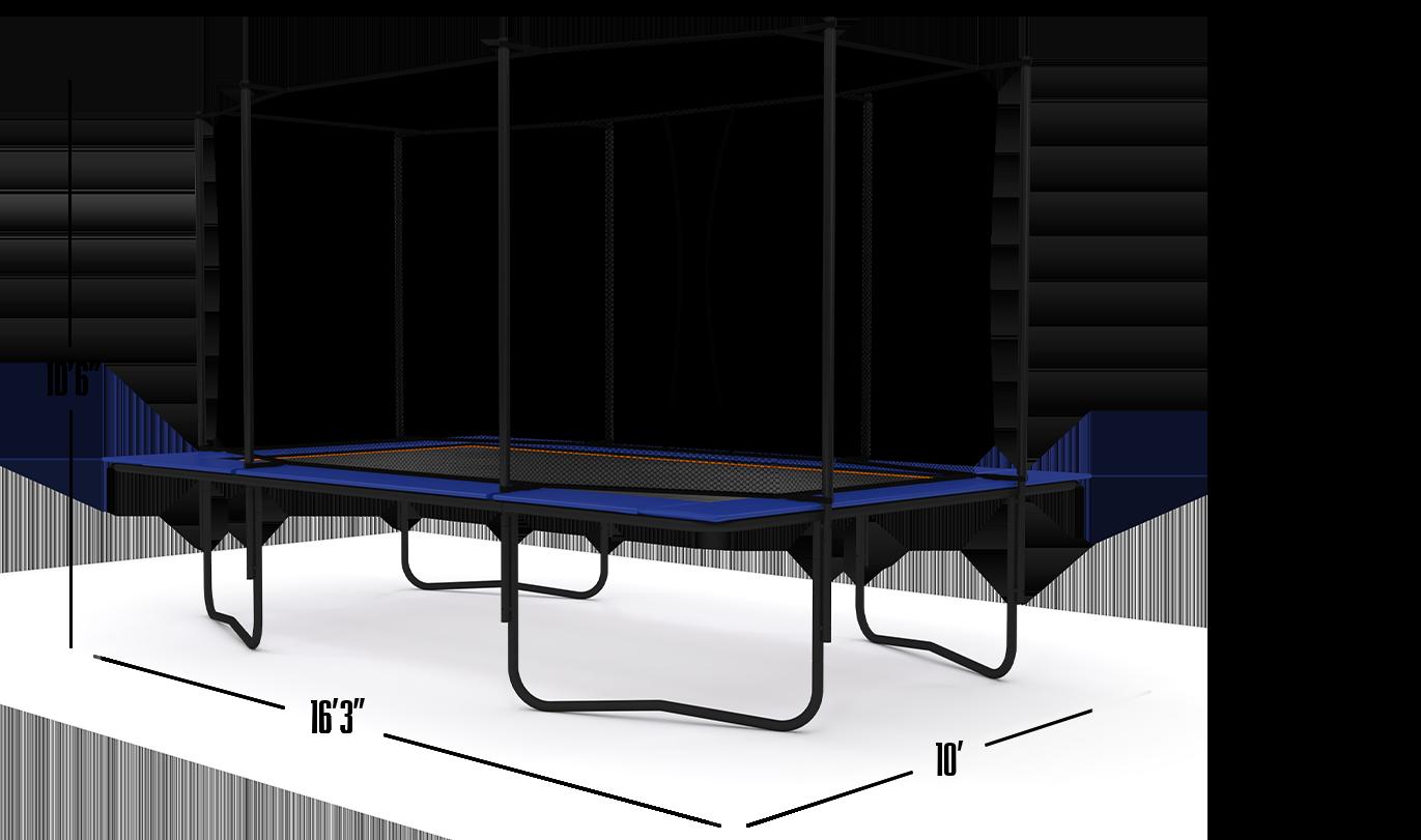 10×17 ENCLOSED TRAMPOLINE BLUE EDITION Dimensions